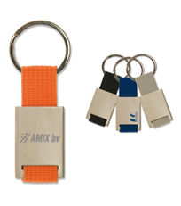 Keyring with colored strip