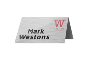 UPSIDE DOWN 'V' NAMEPLATES - METAL UP TO 90mm WIDE, full colour print