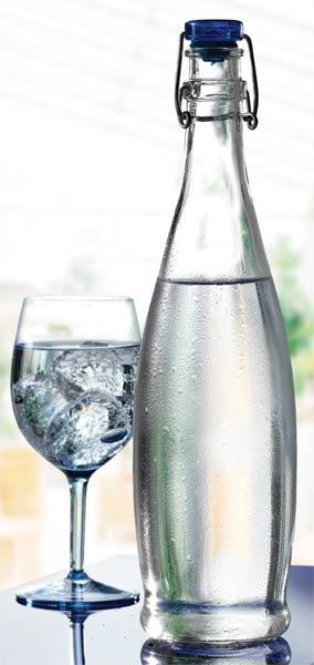 Flip top cork bottle 1 Ltr 340mm high blue top 6's