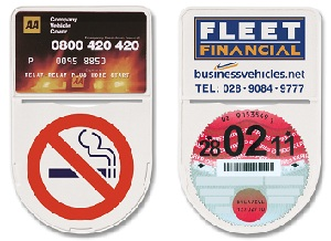 Shield shape self adhesive tax disc holder with membership card pocket