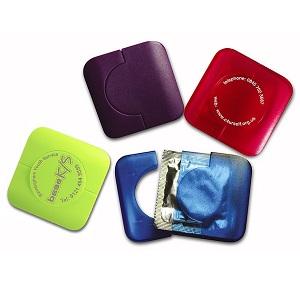 Square Plastic Condom Case (pad printed)