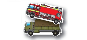 Fire Engine & Military Vehicle Shaped Magnets