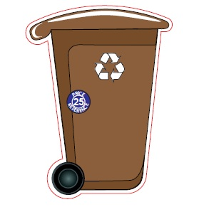 Recycle Wheelie Bin Shaped Magnet – Brown