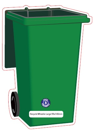 Large Recycle Wheelie Bin Shaped Magnet – Green
