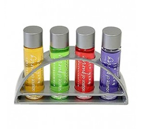 4 x 10ml Bath Oils in a Chrome Rack