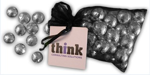 Large Organza Bag with 60g Chocolate Balls (Full Colour Tag)