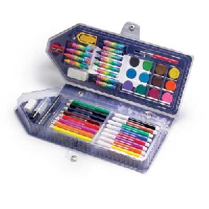 Art set with crayons, felt tips, pencils and paints