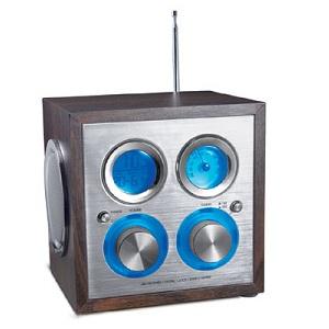 Wooden cube radio